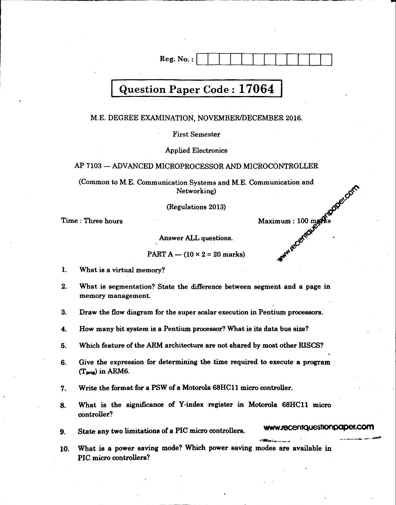 AP7103 Advanced Microprocessor And Micro Controller Anna University Question paper Nov/Dec 2016