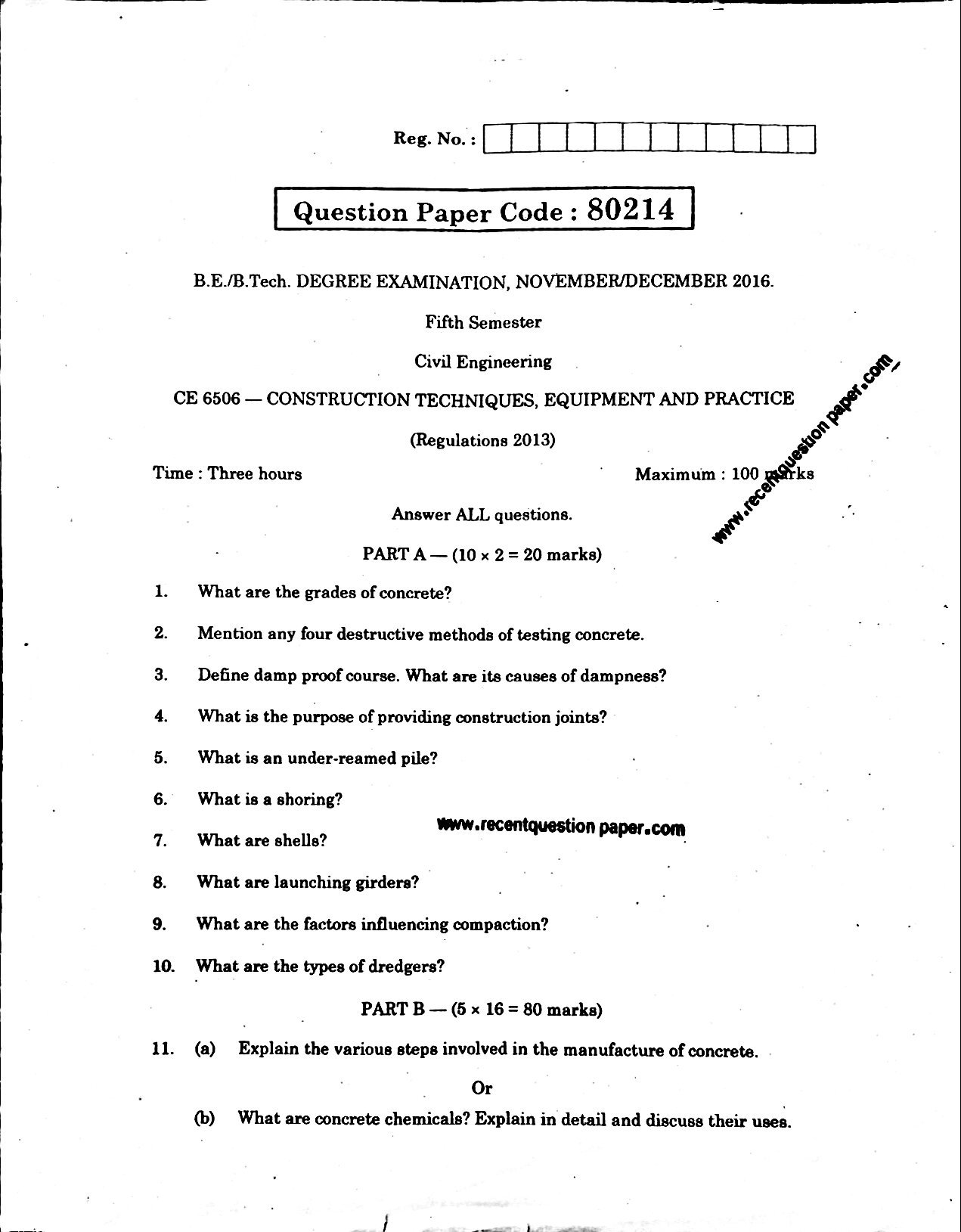 CE6506 Construction Techniques Equipment And Practice Processing Anna University Question paper Nov/Dec 2016