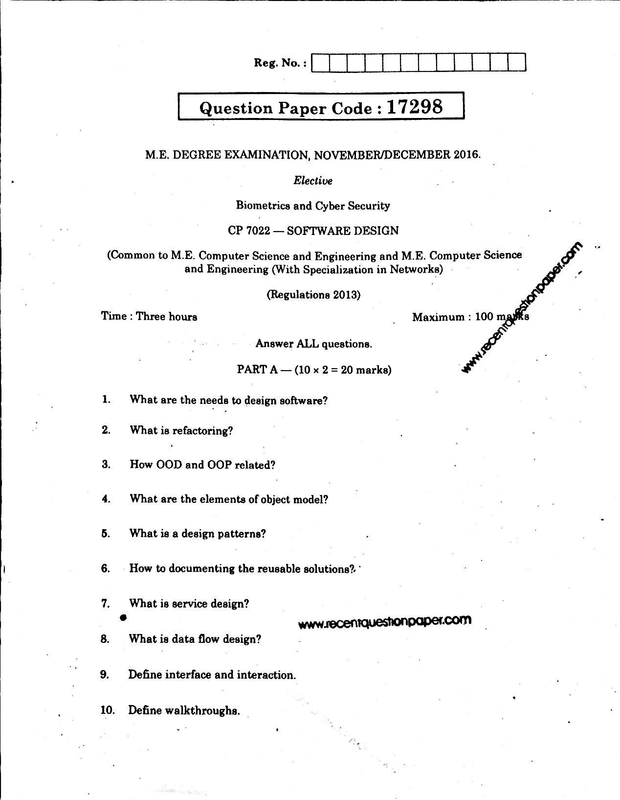CP7022 Software Design Anna University Question paper Nov/Dec 2016