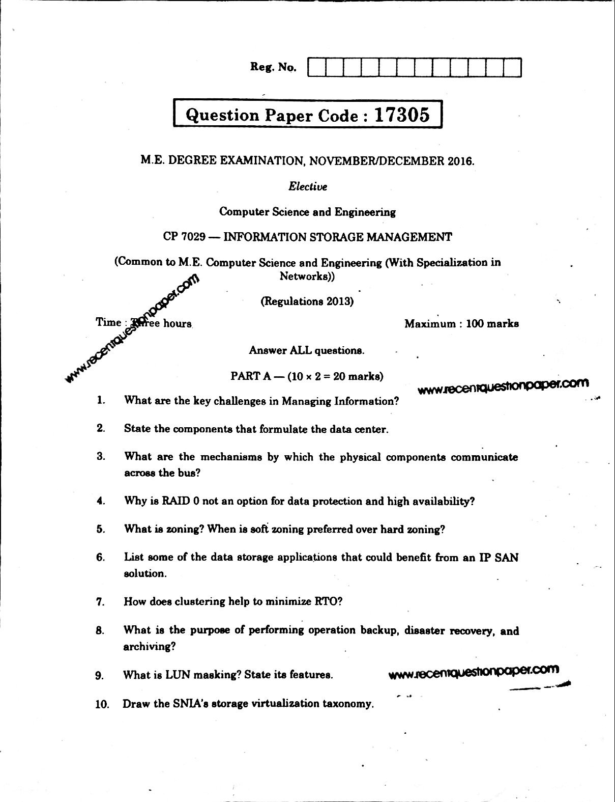 CP7029 Information Storage Management Anna University Question paper Nov/Dec 2016