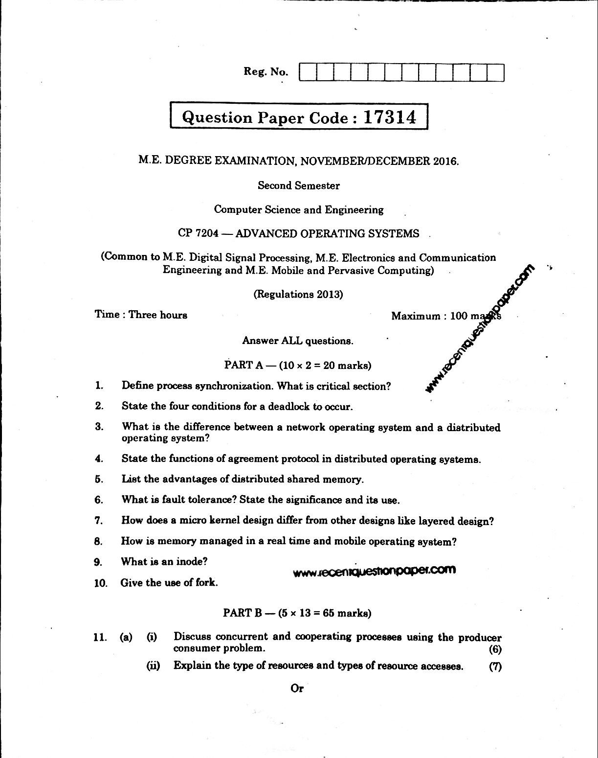 CP7204 Advanced Operating Systems Anna University Question paper Nov/Dec 2016