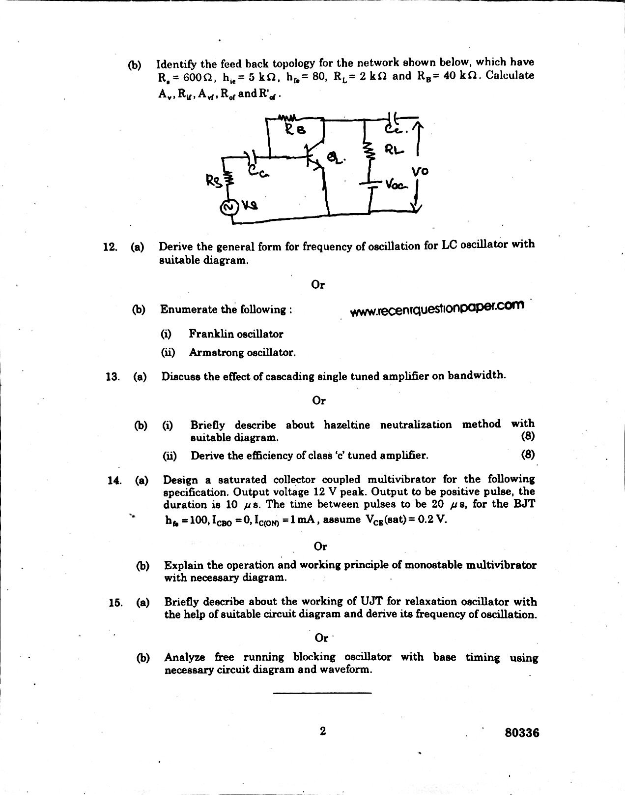 ELECTRONIC CIRCUIT-II ANNA UNIVERSITY QUESTION PAPER