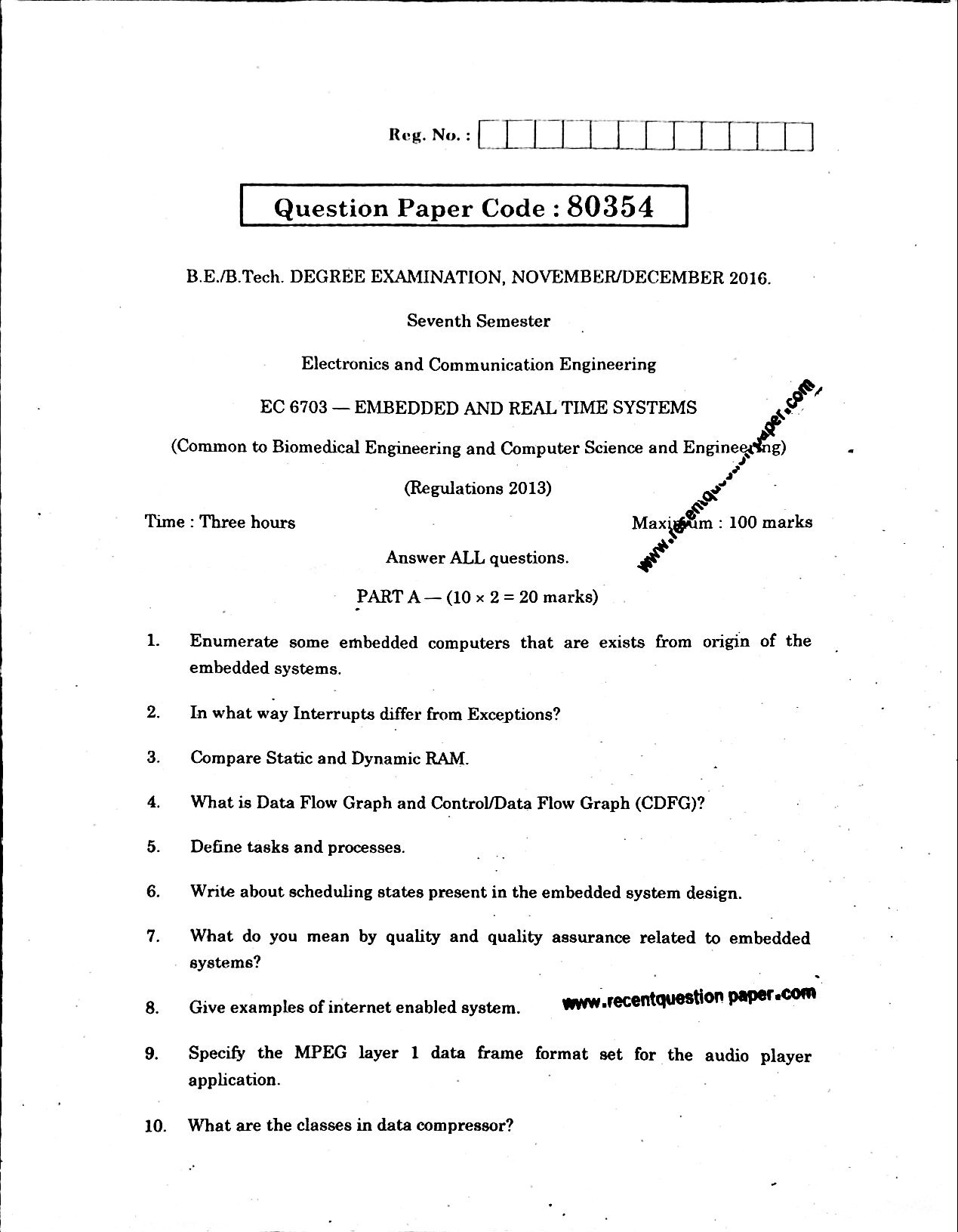 EC6703 Embedded And Real Time Systems Nov/Dec 2016 Questionpaper