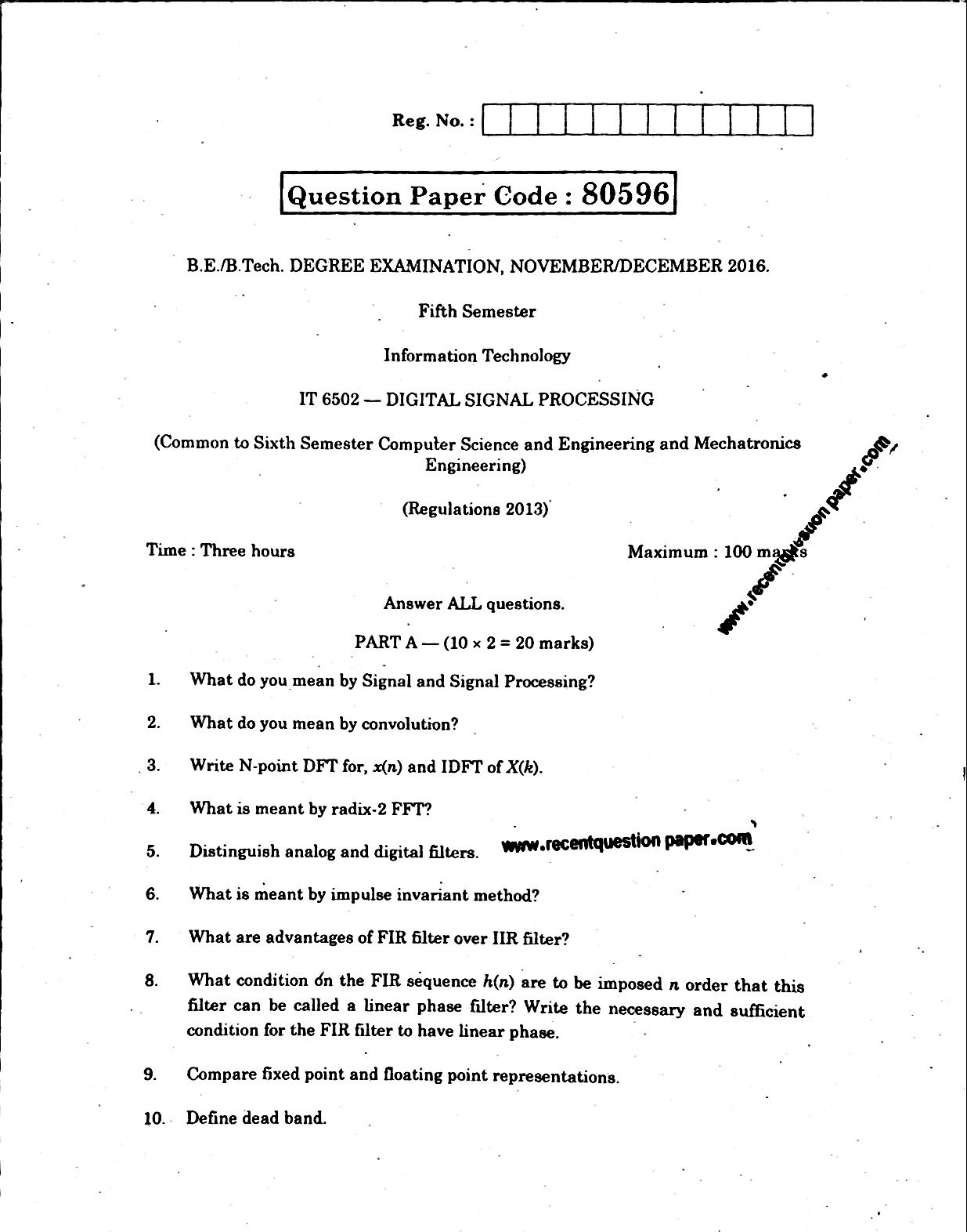 IT6502 Digital Signal Processing Nov/Dec 2016 Question Paper