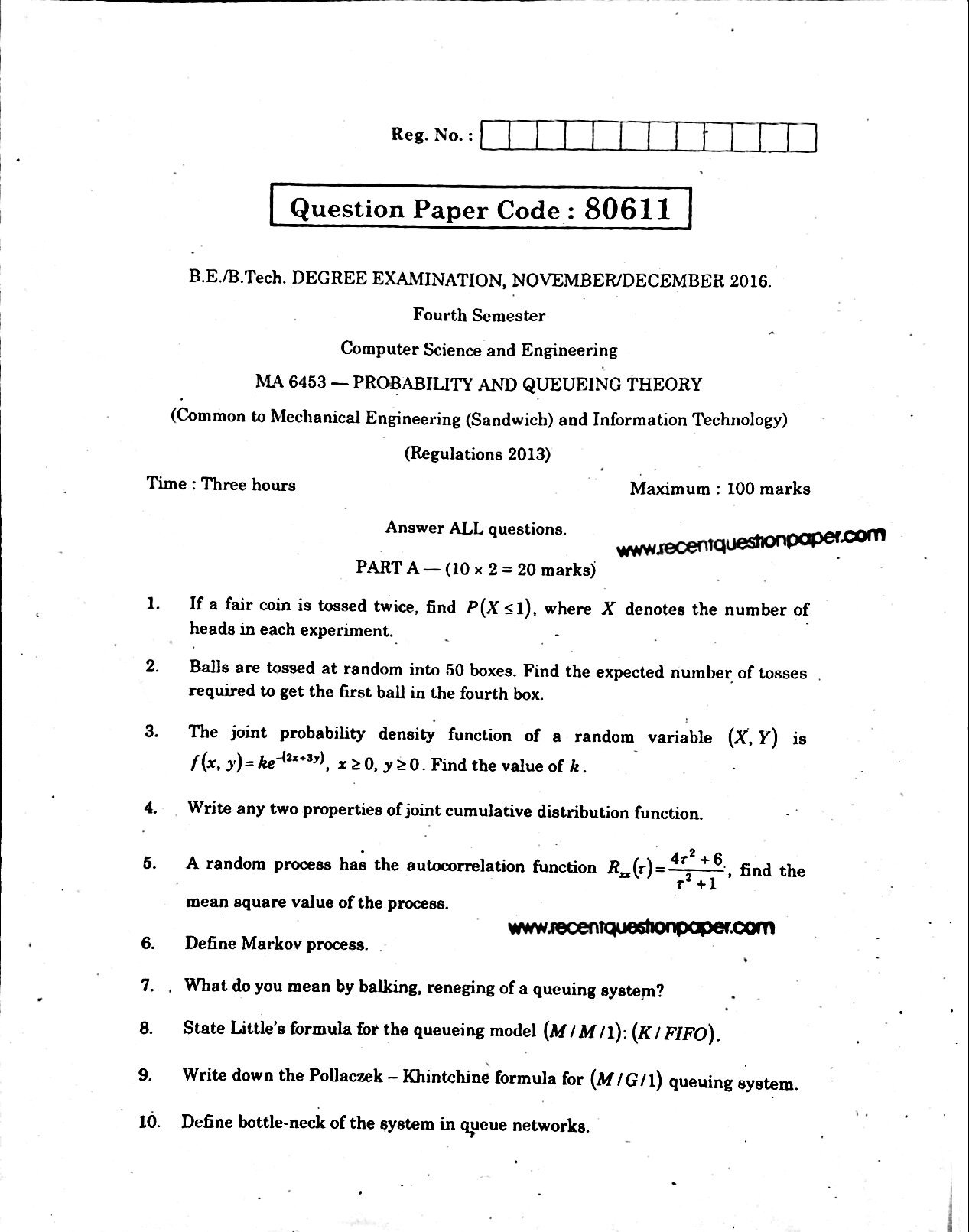 MA6543-Probability-and-Queueing-Theory-Anna University-Question-paper-Nov/Dec-2016, MA6543-Probability and Queueing Theory Anna University Question paper Nov/Dec 2016 Pdf, MA6543 Anna University Question paper nov/dec 2016,Probability and Queueing TheoryAnna University Question paper Nov/Dec 2016