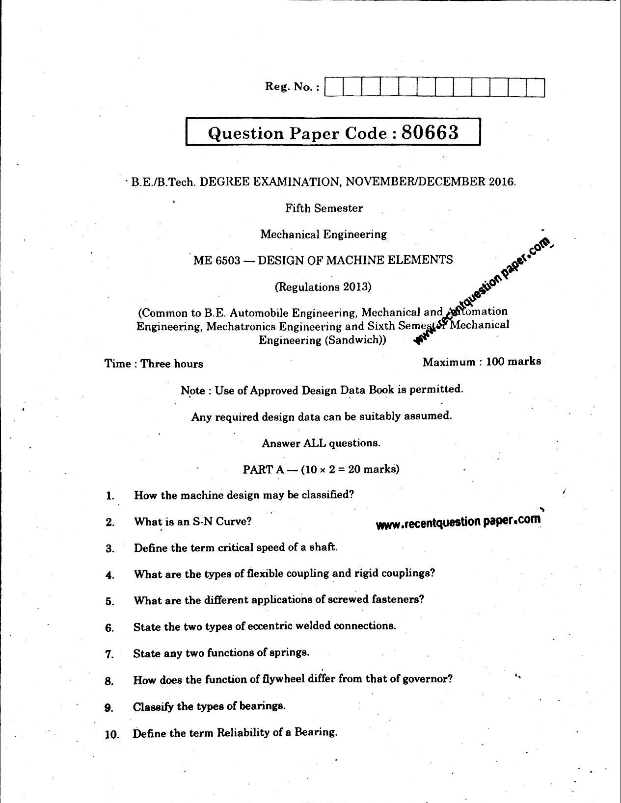 Design Of Machine Elements Anna University Question Nov/Dec 2016