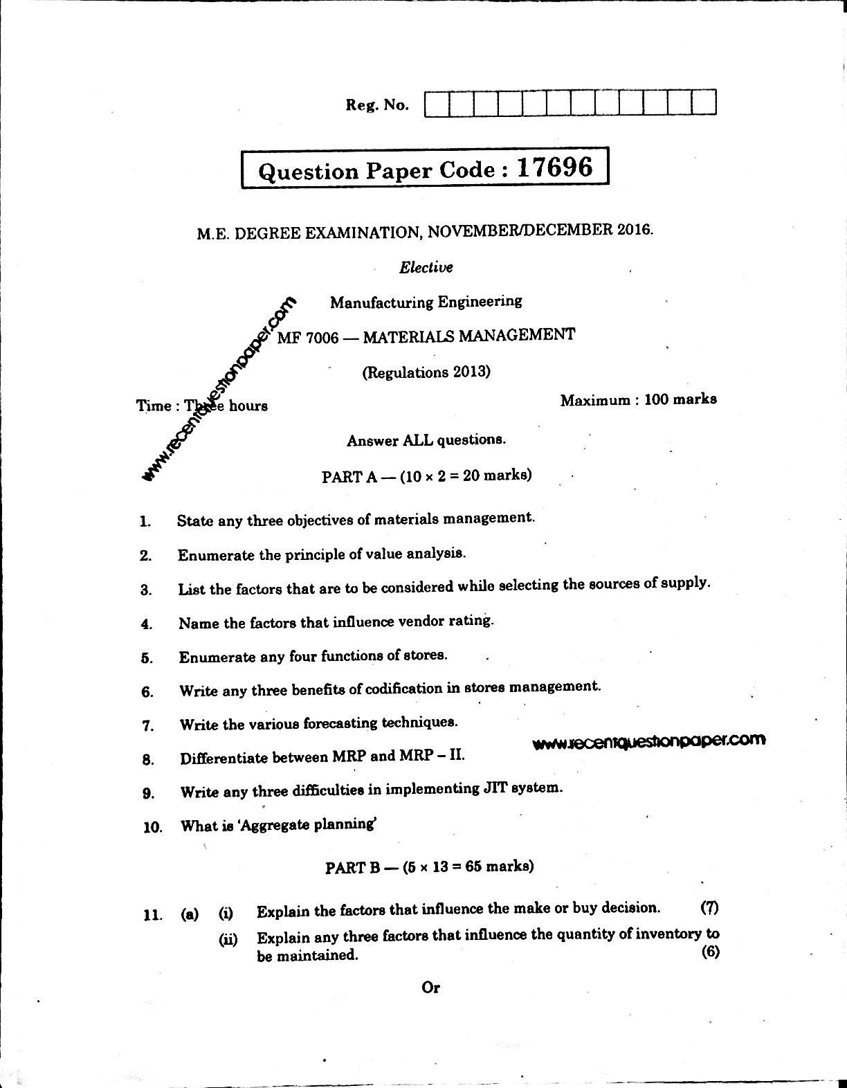 MF7006 Materials Management Anna University Question paper Nov/Dec 2016 Pdf