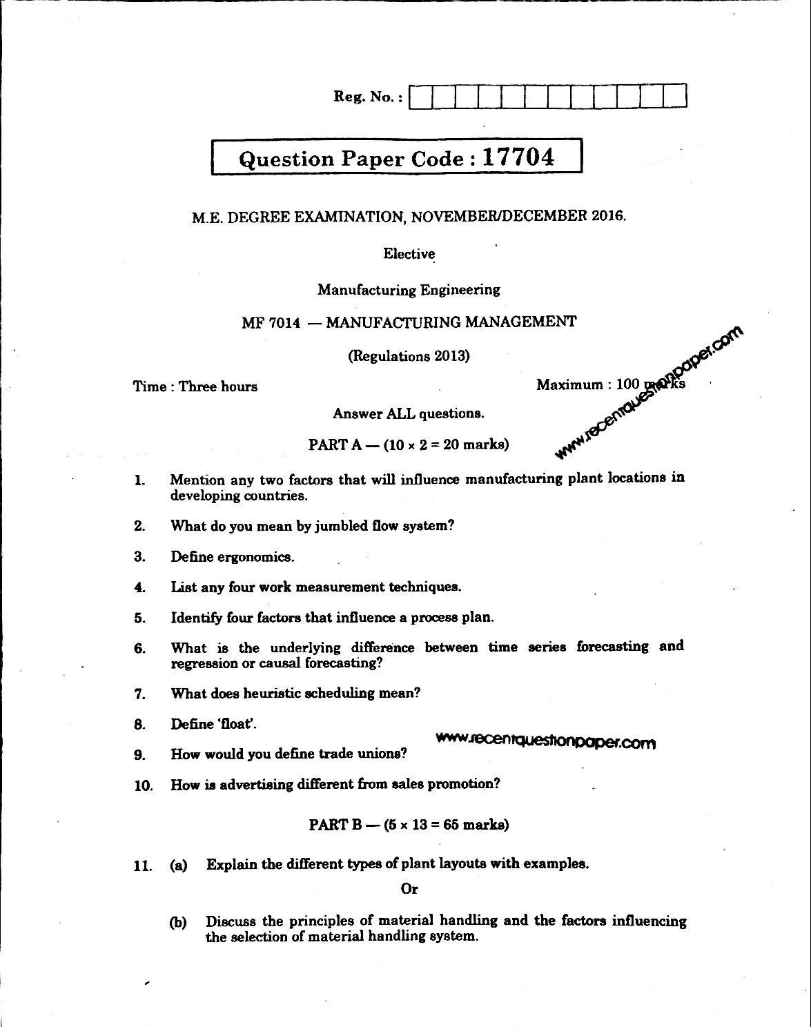 MF7014 Manafacturing Management Anna University Question paper Nov/Dec 2016