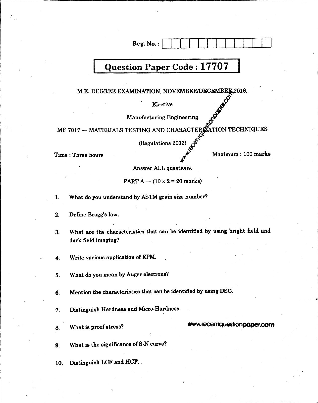 MF7017 MaterialsTesting And Characterlation Techniques Anna University Question paper Nov/Dec 2016