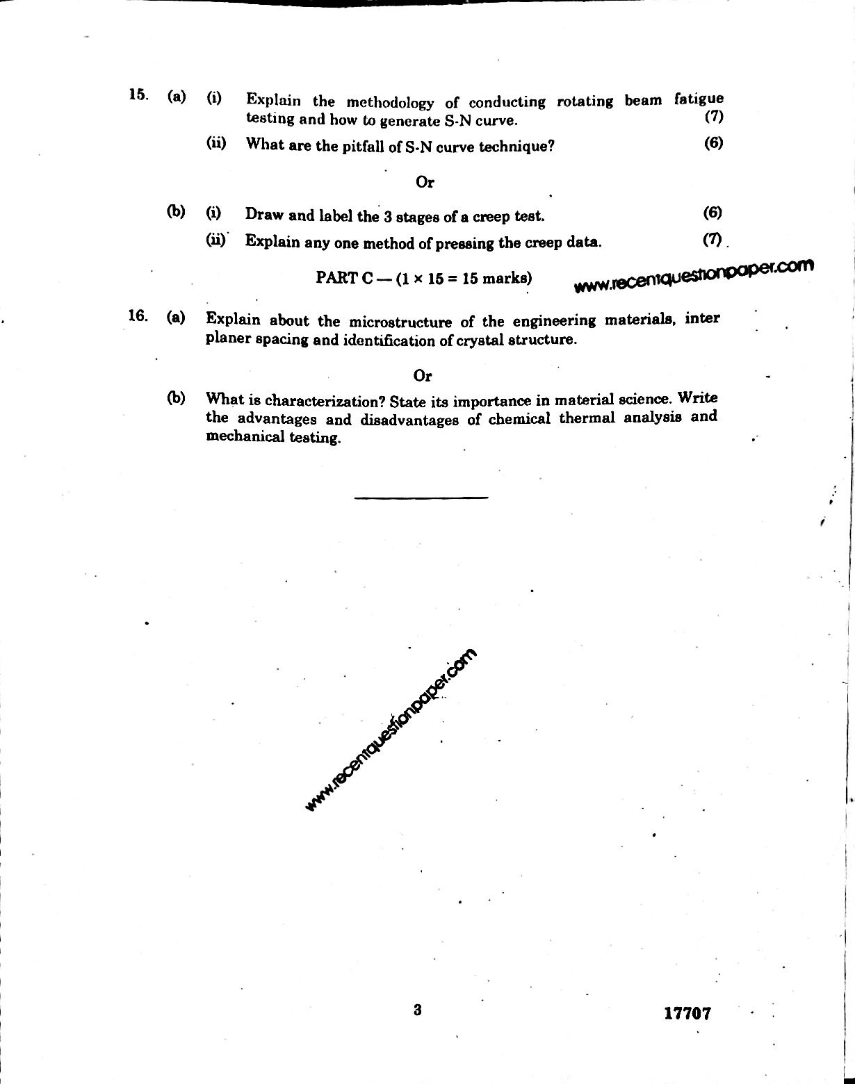 MF7017 MaterialsTesting And Characterlation Techniques Anna University Question paper