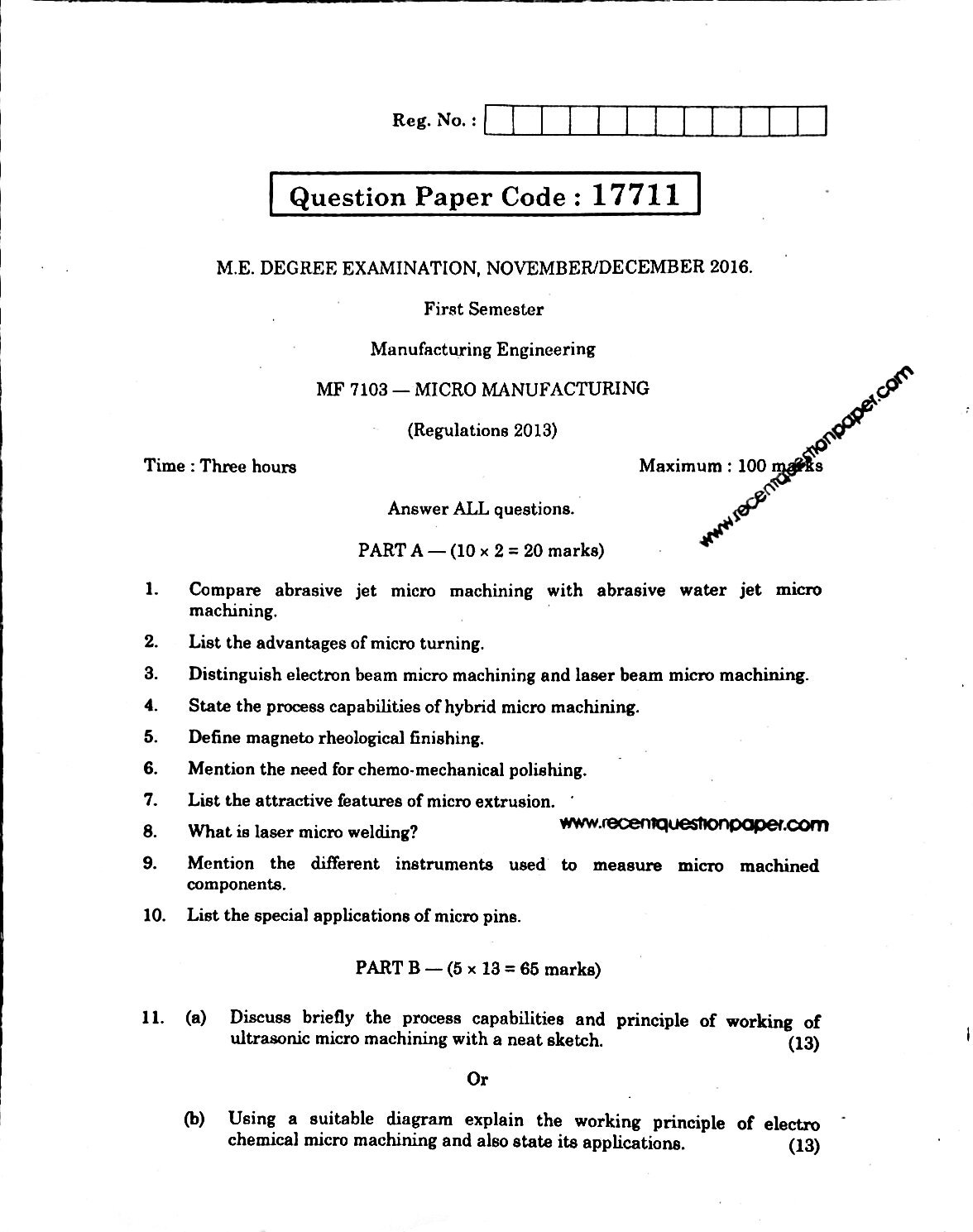 MF7103 Micro Manufacturing Anna University Question paper