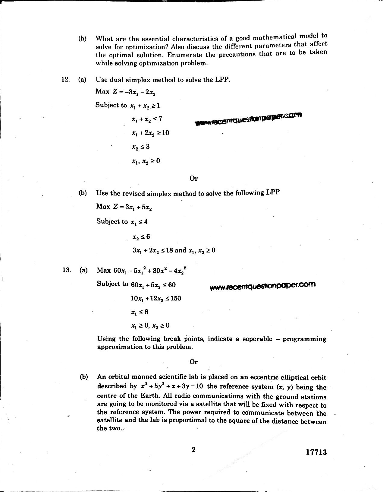 MF7201 OPTIMIZATION TECHNIQUES IN MANUFACTURING university question paper
