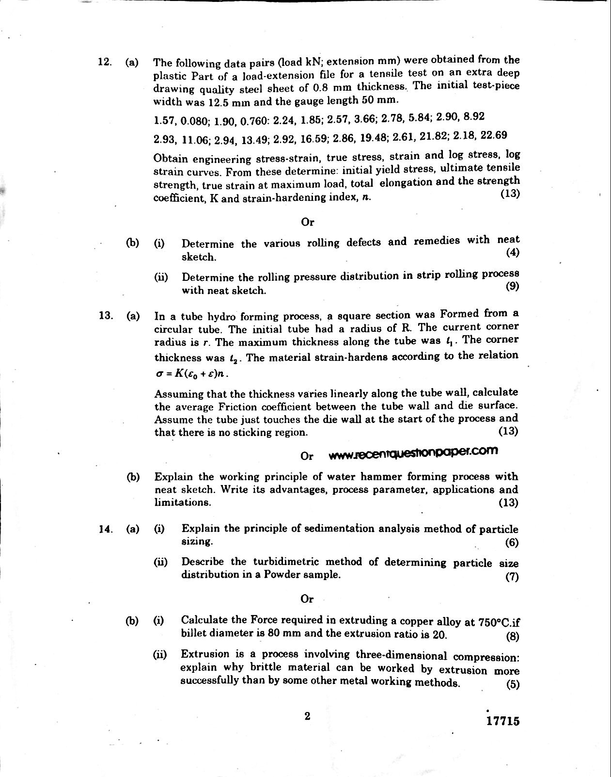 Theory Of Metal Forming-Anna University Question paper Nov/Dec 2016