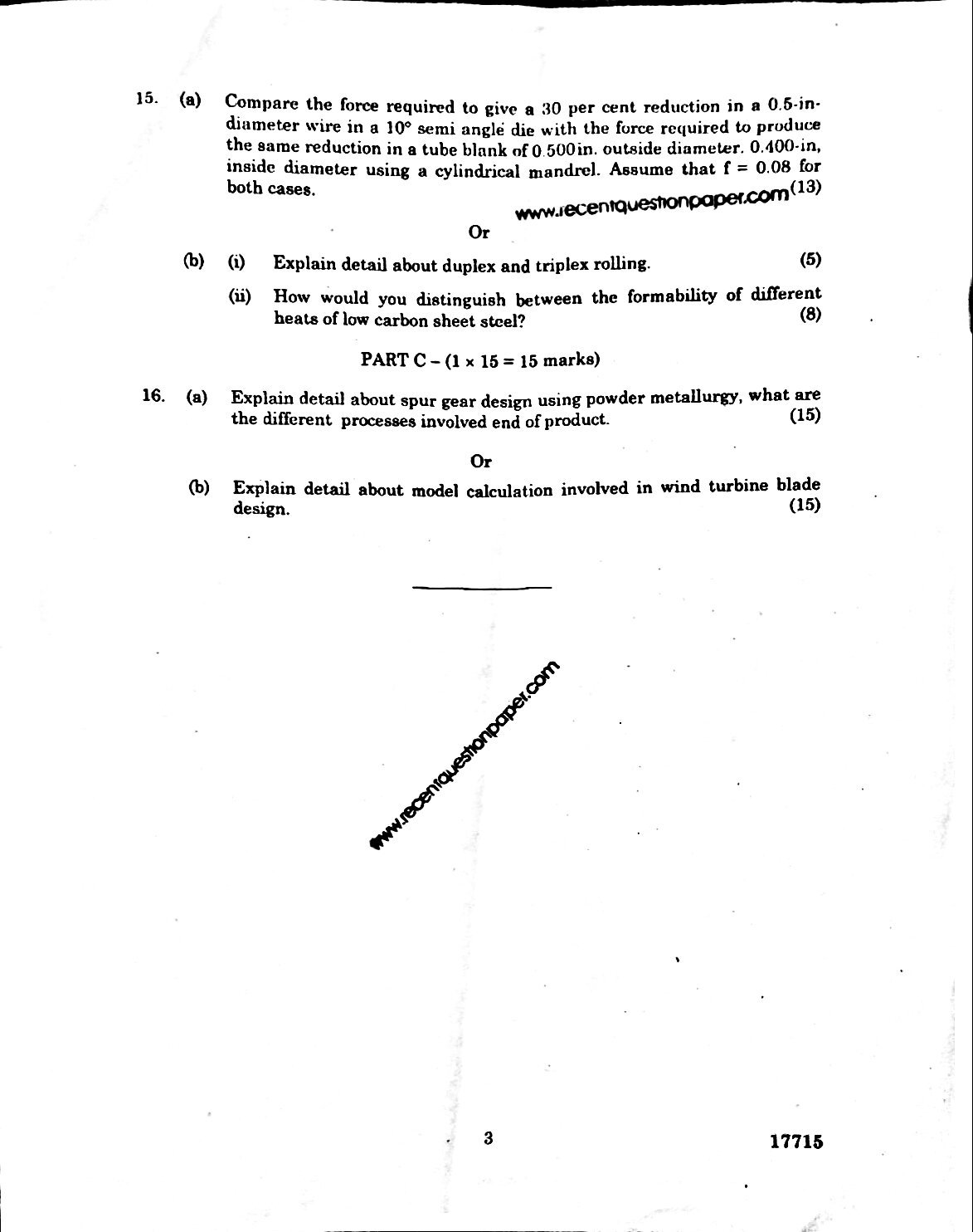 MF7203 Theory Of Metal Forming-Anna University Question paper Nov/Dec 2016