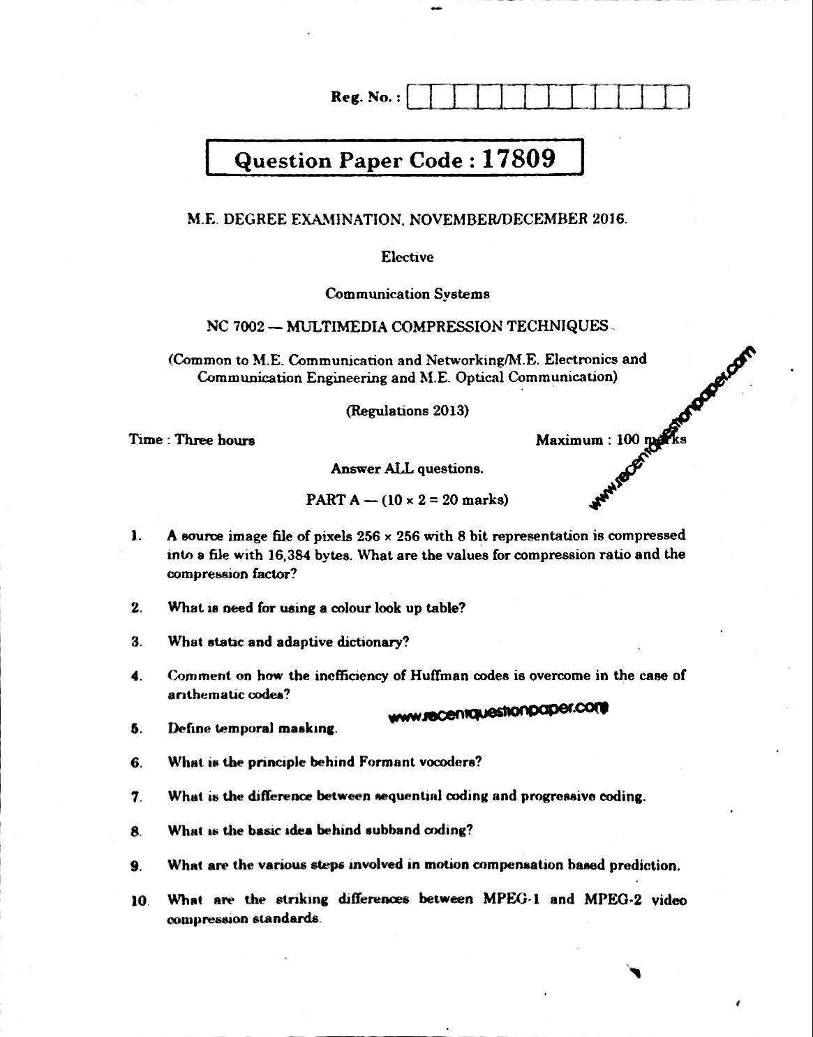 NC7002 Multimedia Compression Techniques Anna University Question paper Nov/Dec 2016