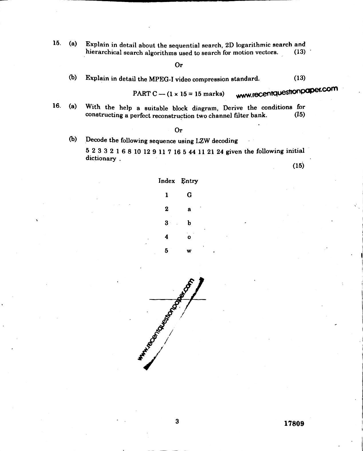 NC7002 Multimedia Compression Techniques Anna University Question paper Nov/Dec 2016 pdf