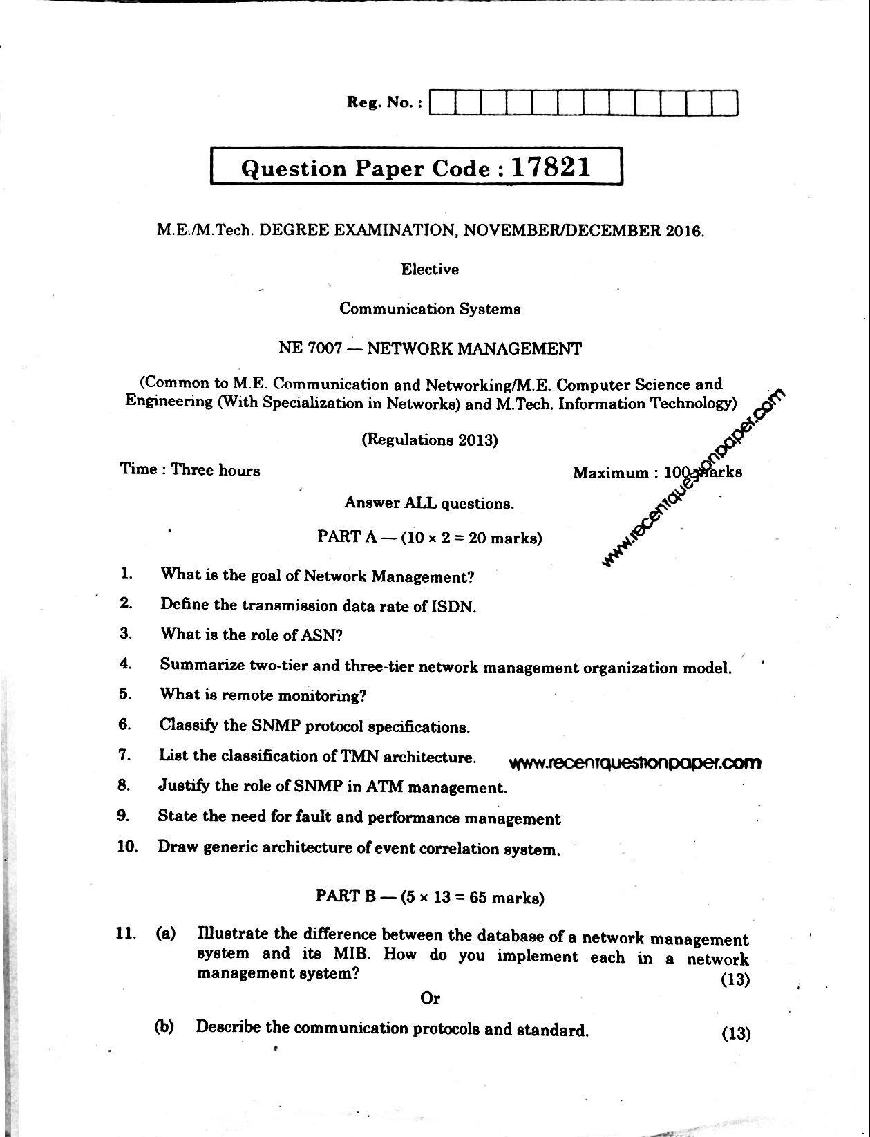 NE7007 Network Management Anna University Question paper Nov/Dec 2016 Pdf
