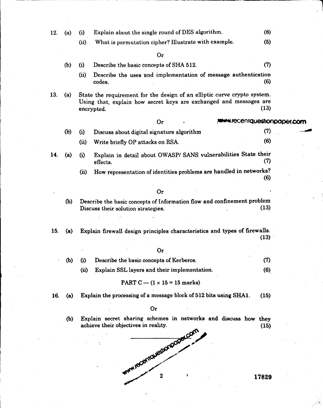 NE7202 Network And Information Security Anna University Question paper