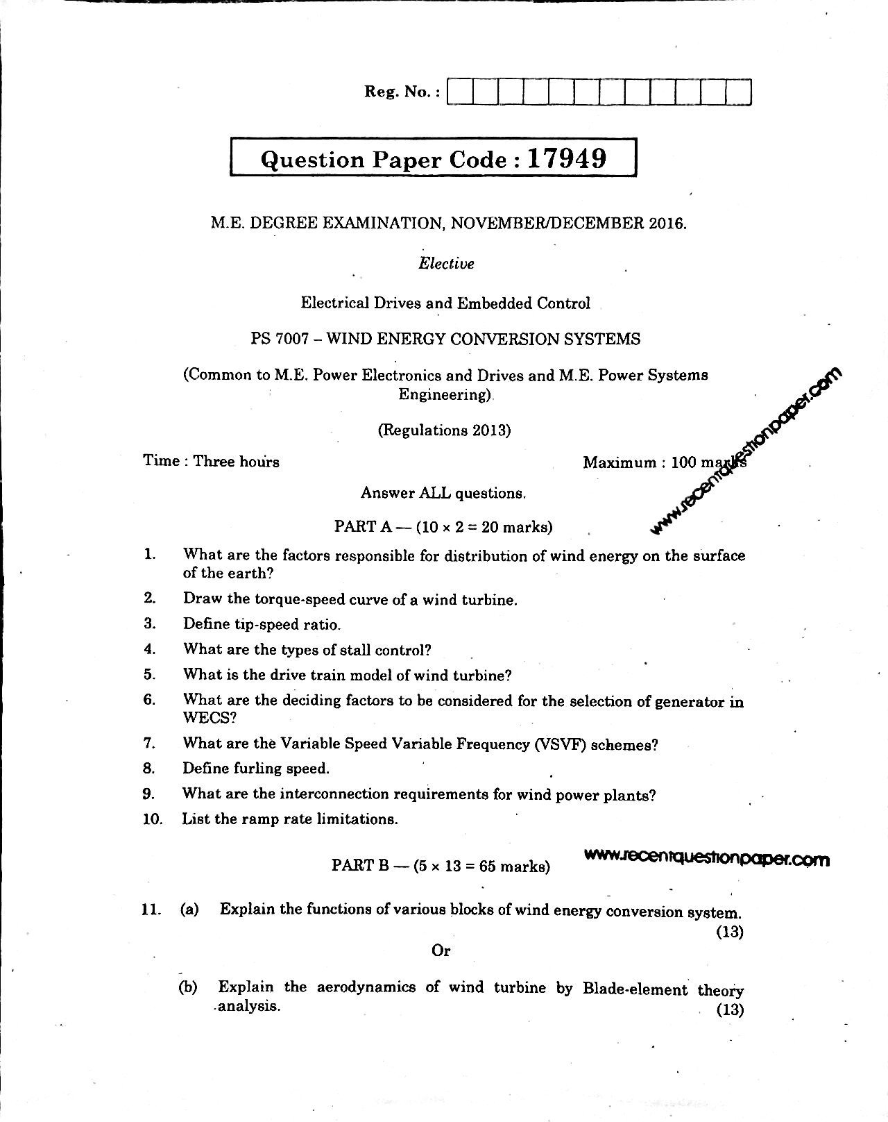 PS7007 Wind Energy Conversion Systems Anna University Question paper Nov/Dec 2016