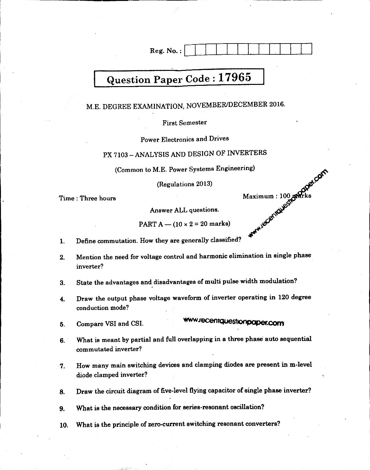 PX7103 Analysis And Design Of Inverters Anna University Question paper Nov/Dec 2016