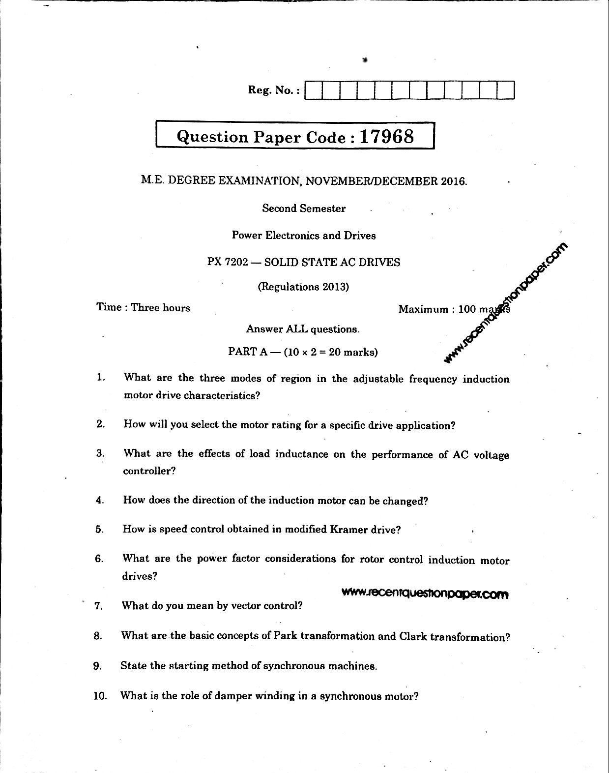 Solid State Ac Drives Anna University Question paper Nov/Dec 2016