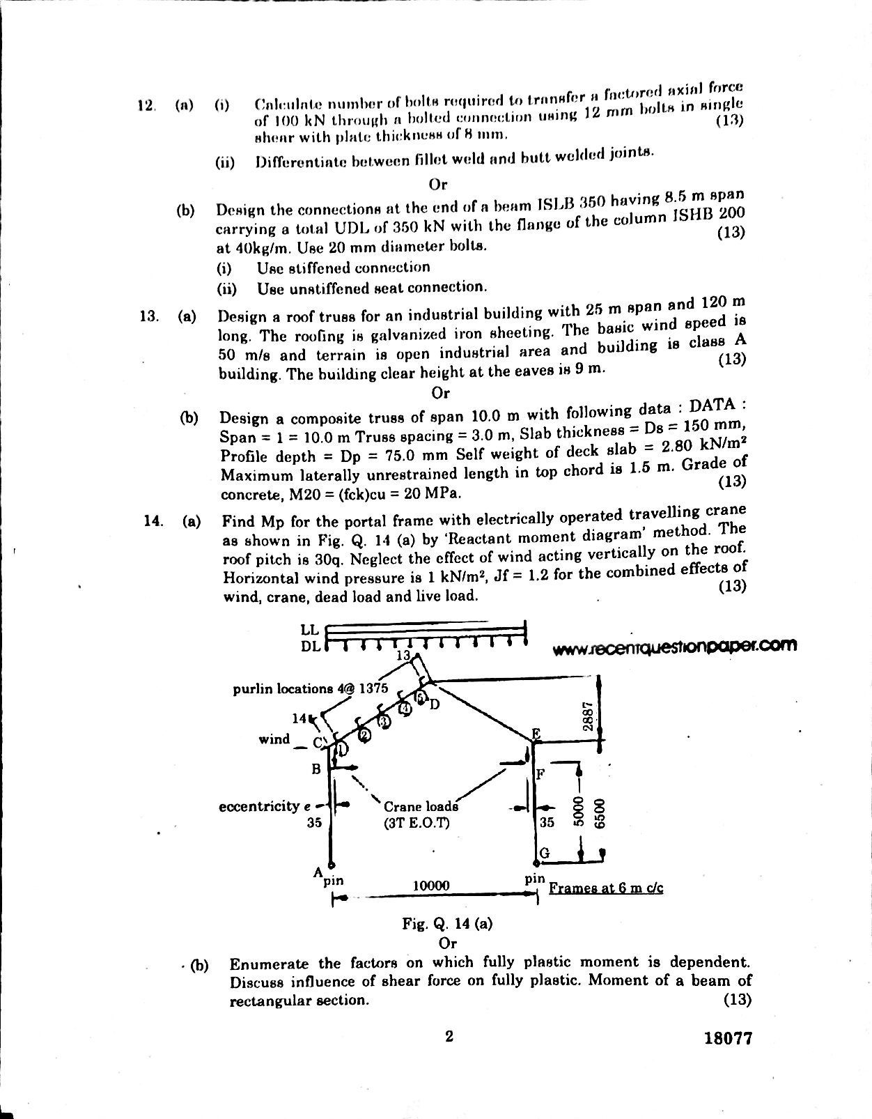 Steel Structures Anna University Question paper