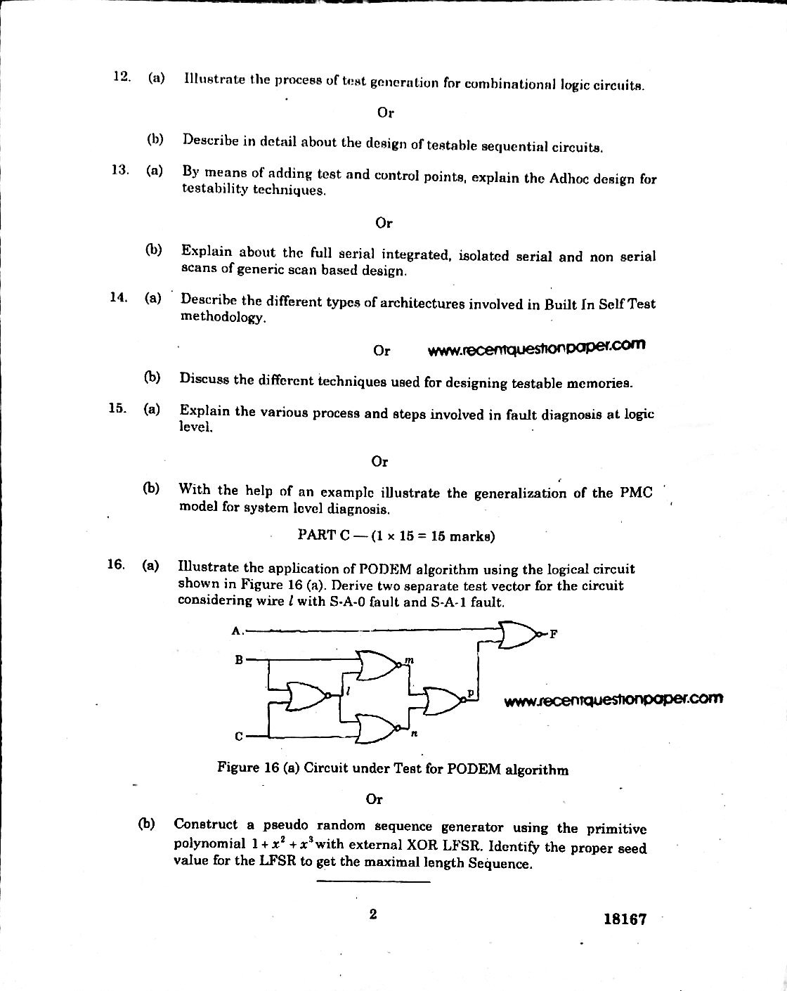 VL7301 Testing Of Vlsi Circuits Anna University Question paper Nov/Dec 2016