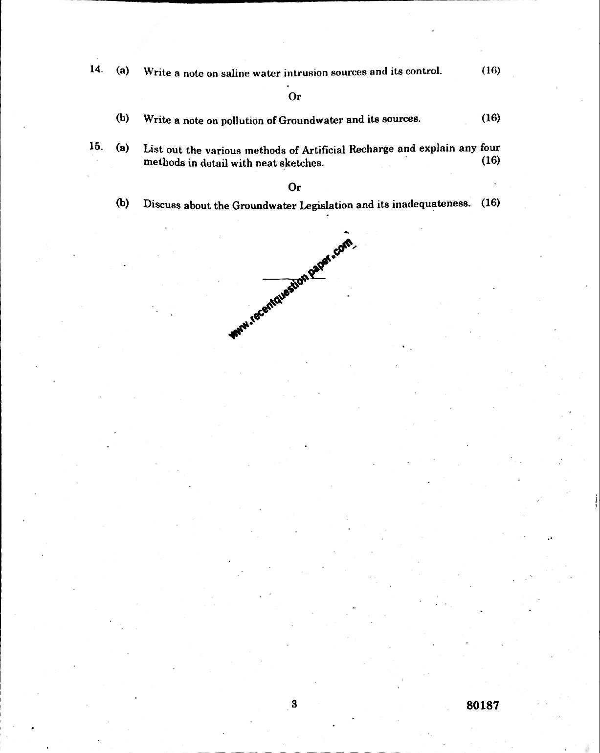 CE6008 Groundwater Engineering Anna University Question paper Nov/Dec 2016