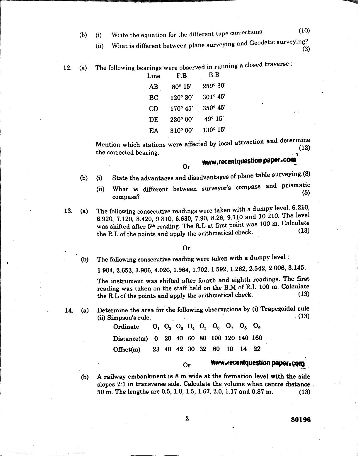 CE6304 Surveying-I Nov/Dec 2016 Anna University Question Paper