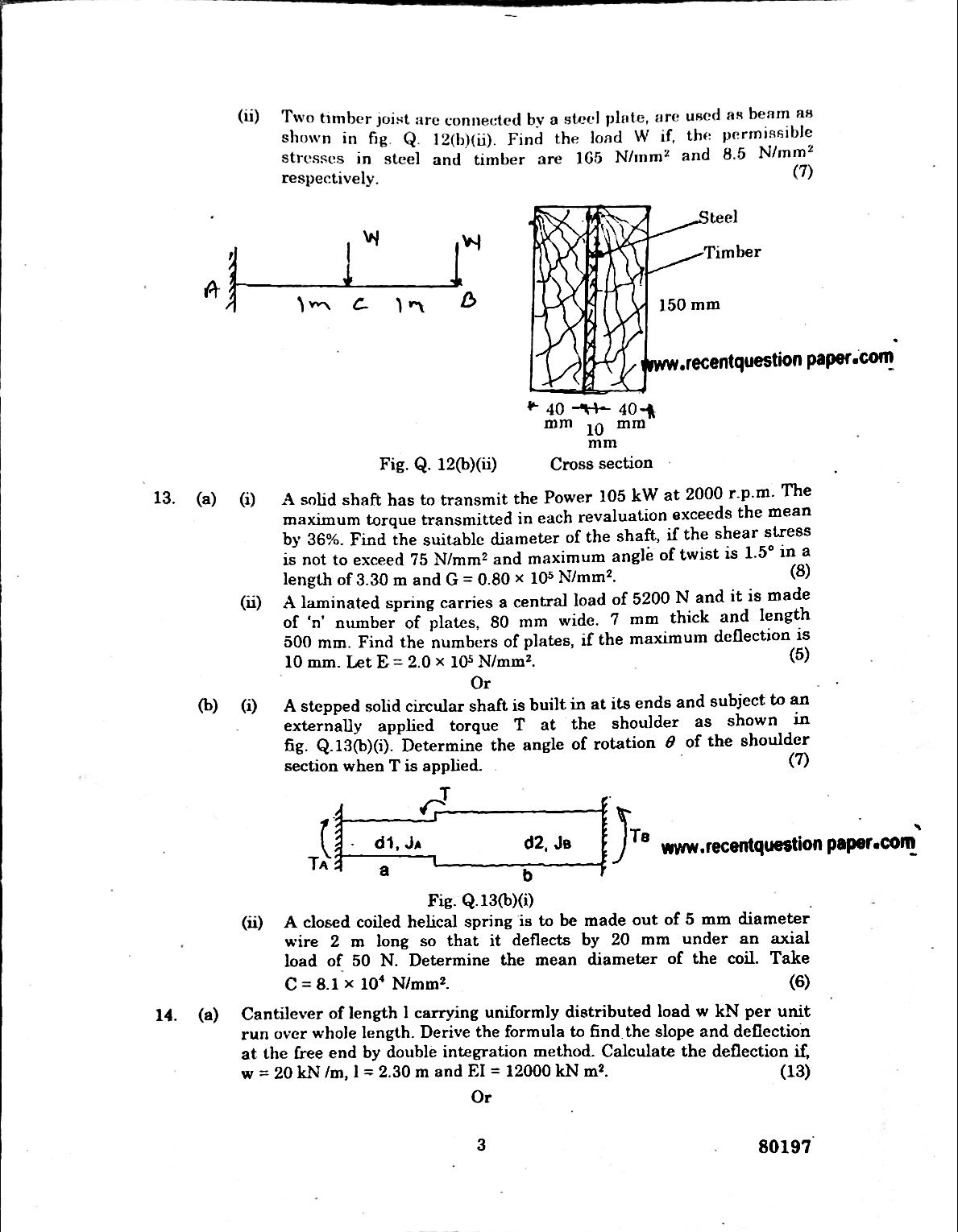 Strength Of Materials Anna University Question paper Nov/Dec 2016