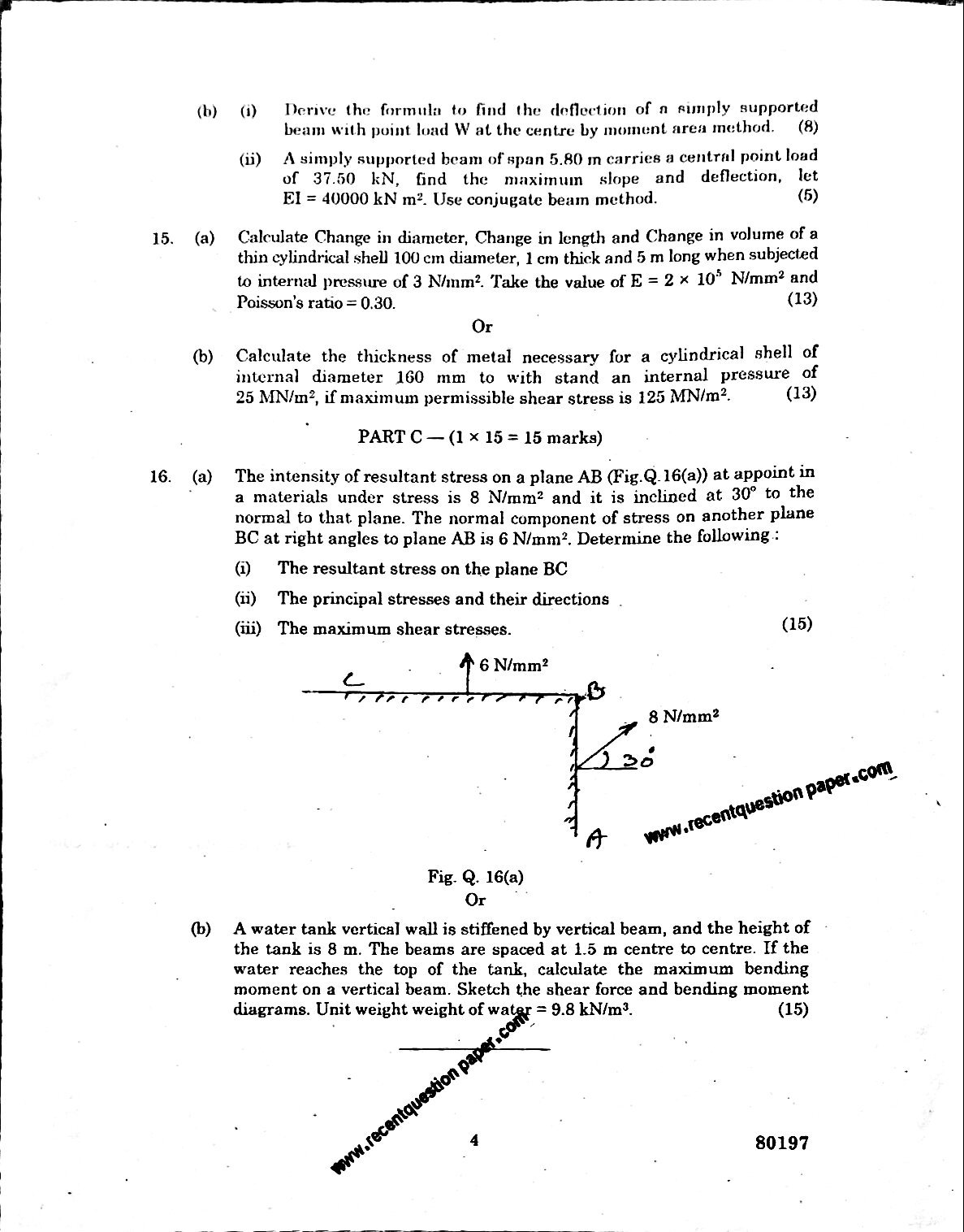 CE6306 Strength Of Materials Anna University Question paper