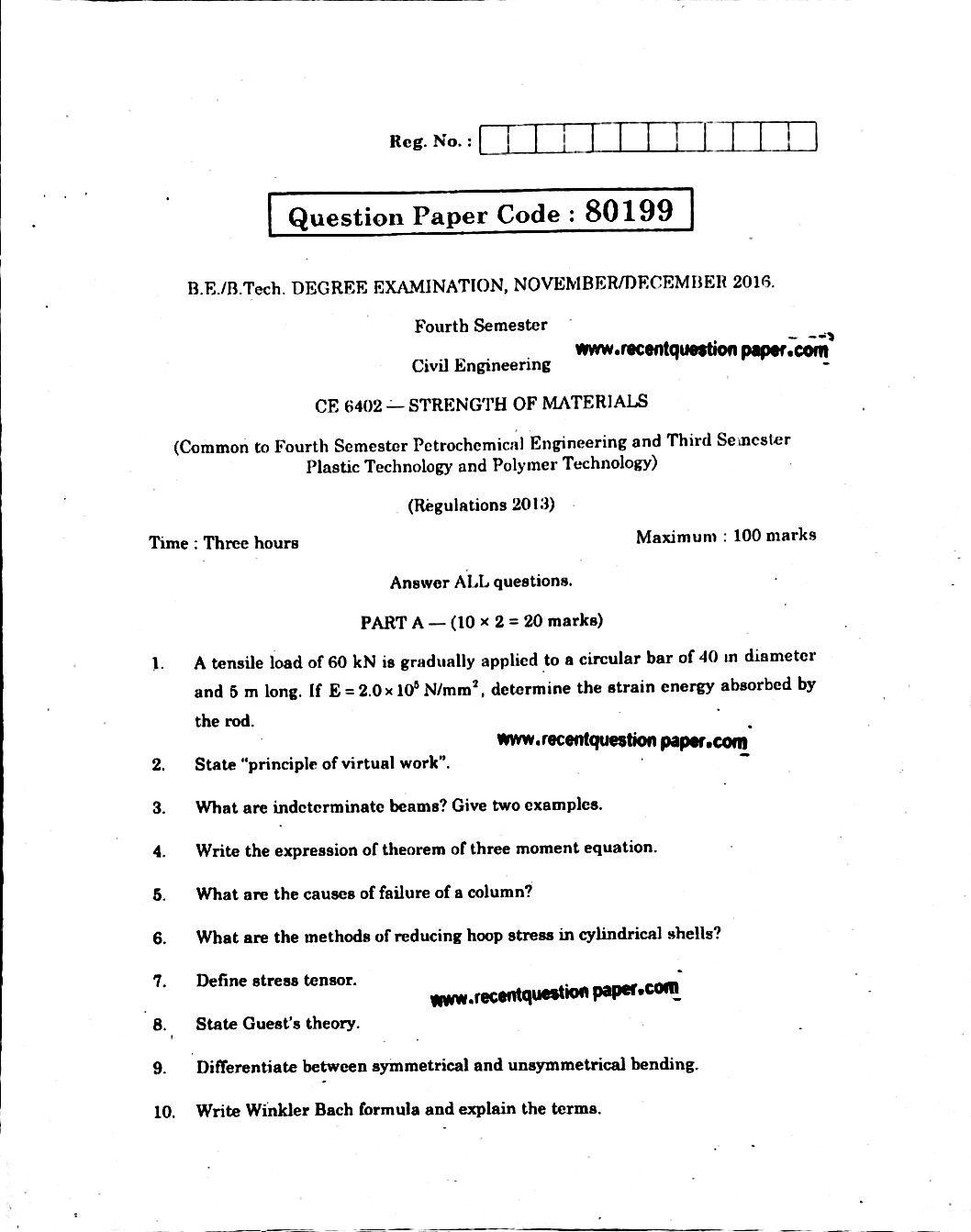 CE6402 Strength Of Materials Anna University Question paper Nov/Dec 2016