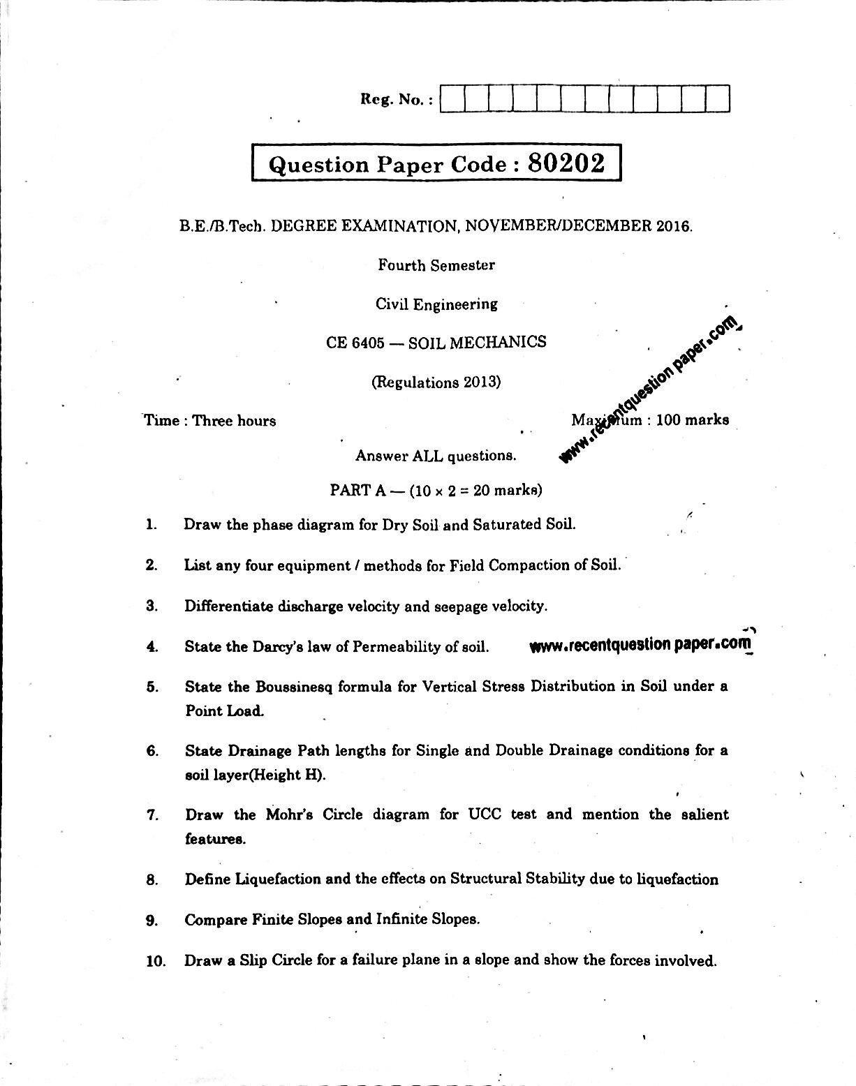 CE6405 Soil Mechanics Anna University Question paper Nov/Dec 2016