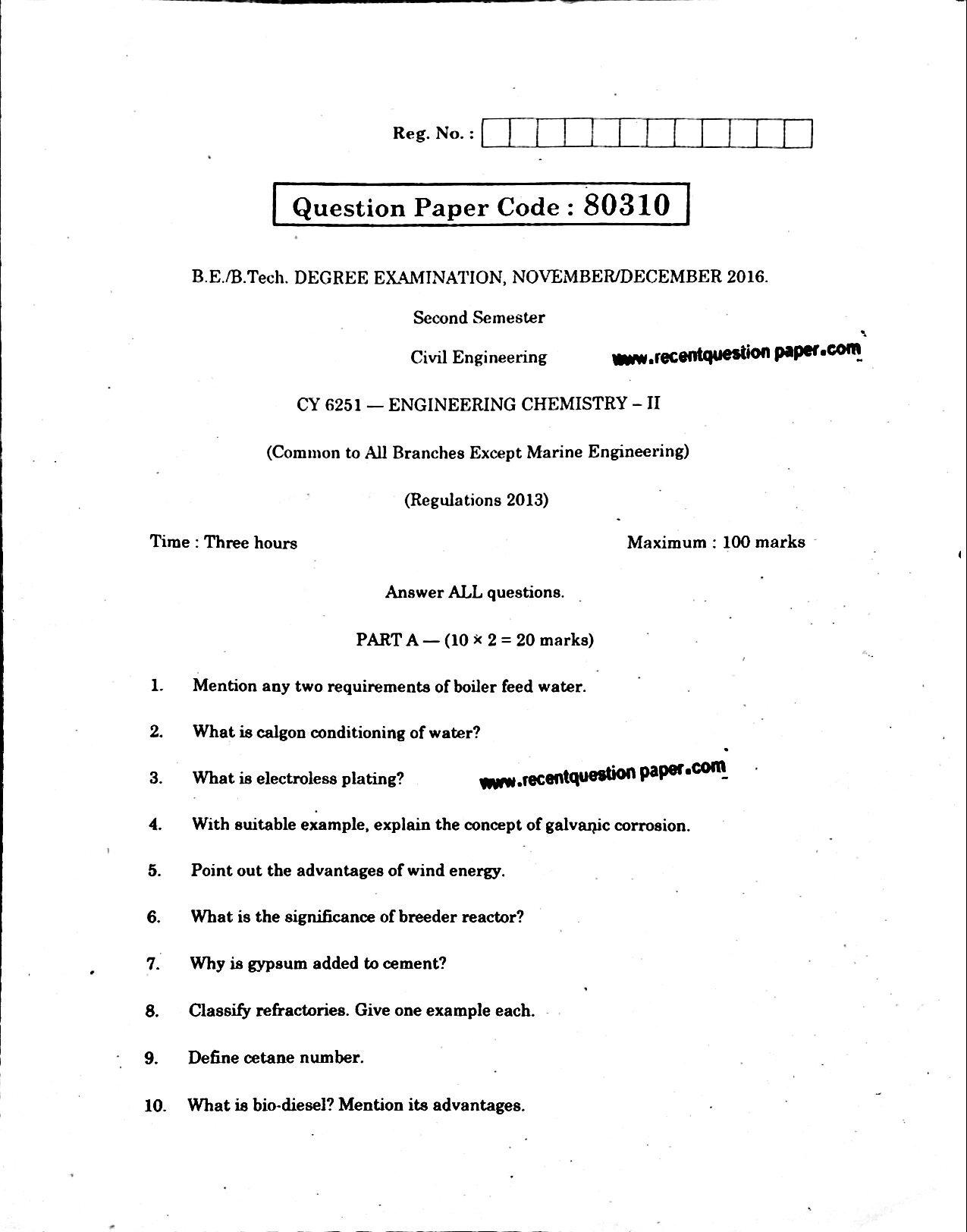 CY6251 Engineering Chemistry-II Anna University Question paper Nov/Dec 2016