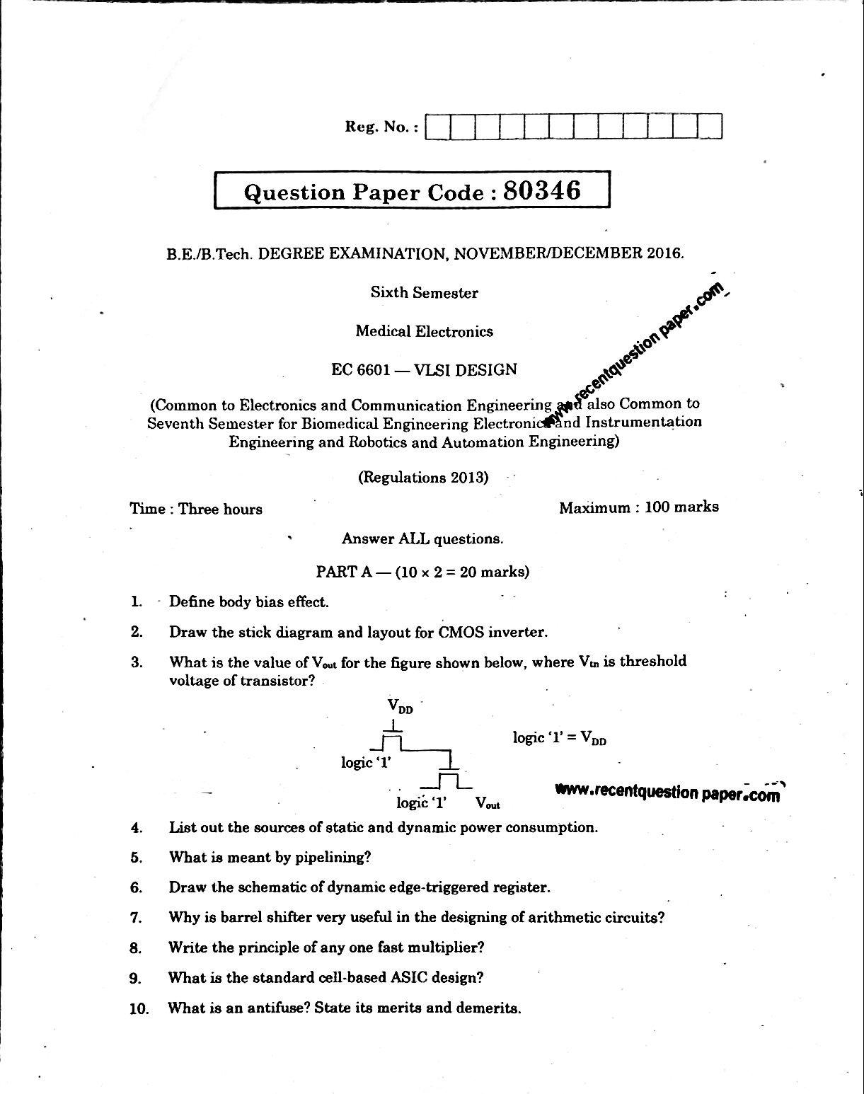 VLSI Design Anna University Question paper Nov/Dec 2016