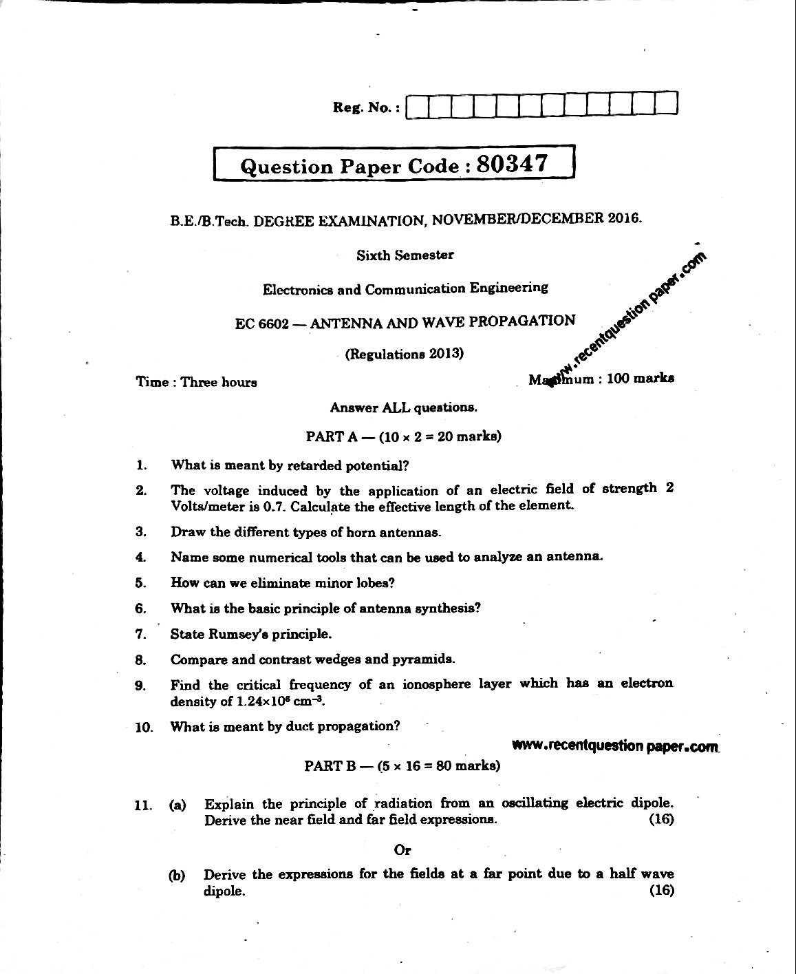 Antenna And Wave Propagation Anna University Question paper Nov/Dec 2016