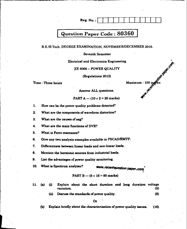 Power Quality Anna university Question paper Nov/Dec 2016