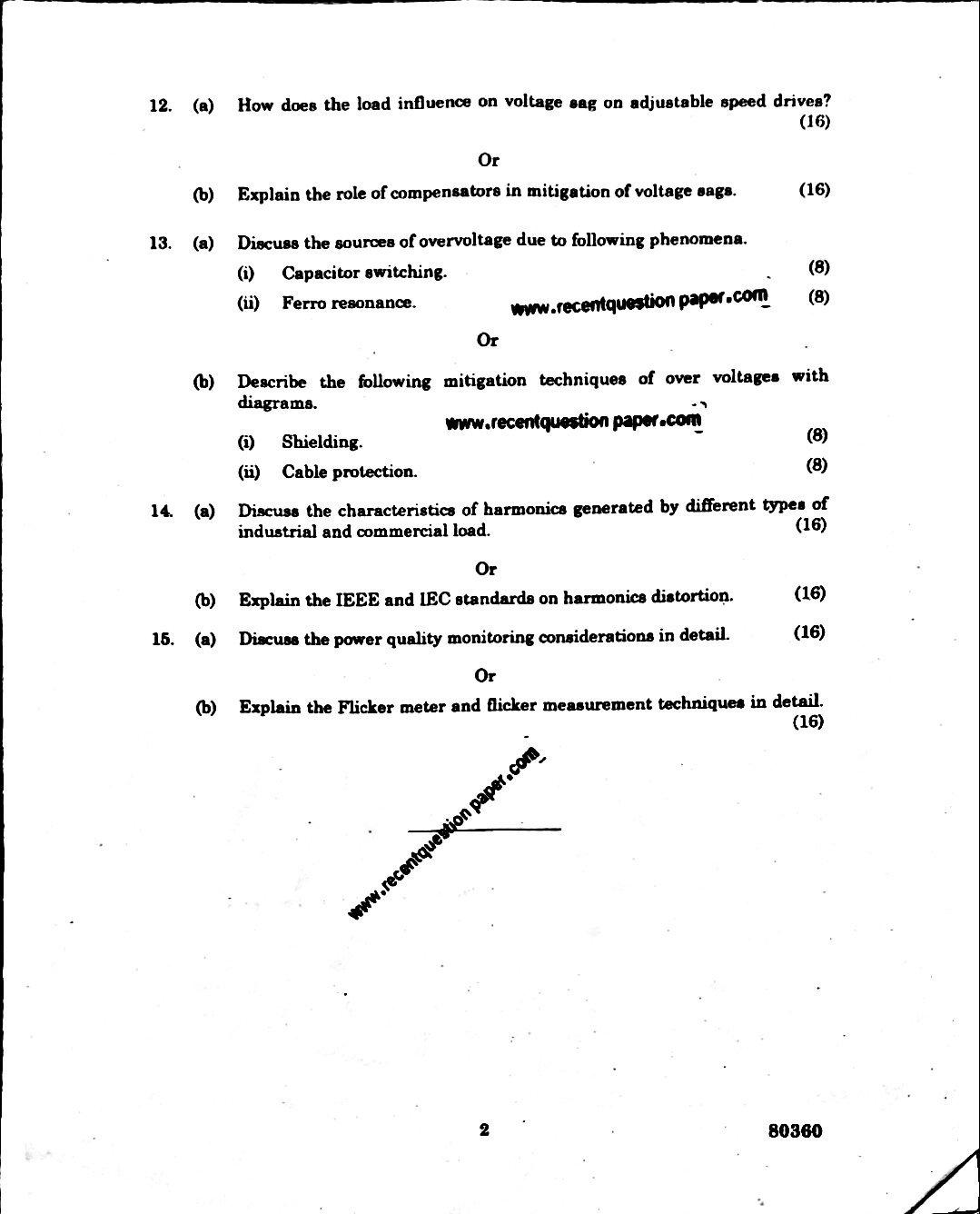 EE6005 Power Quality Anna university Question paper Nov/Dec 2016