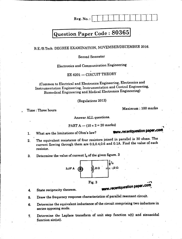 EE6201 Circuit Theory Anna University Question paper Nov/Dec 2016