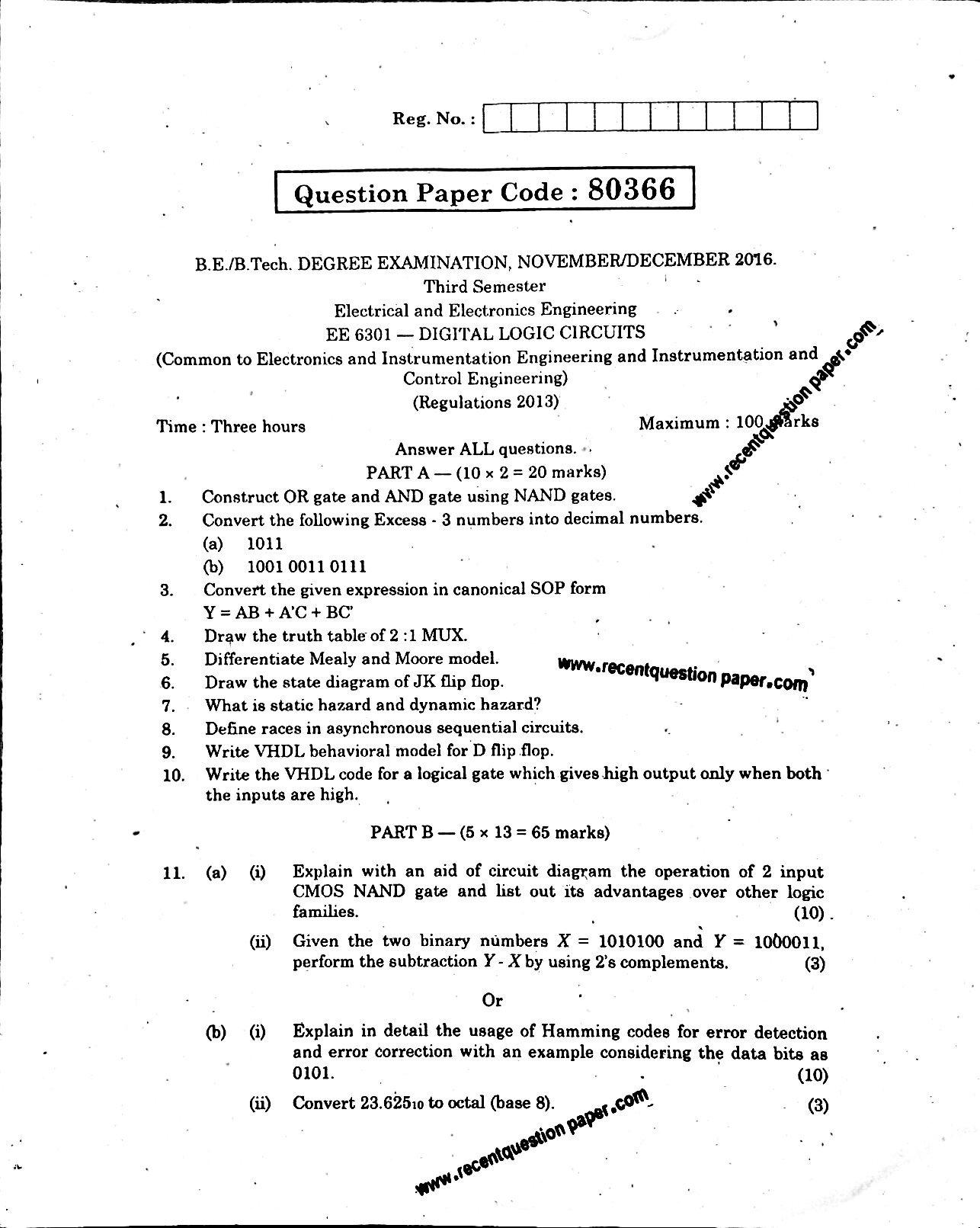 Ee6301 Digital Logic Circuits Novdec 2016 Question Paper