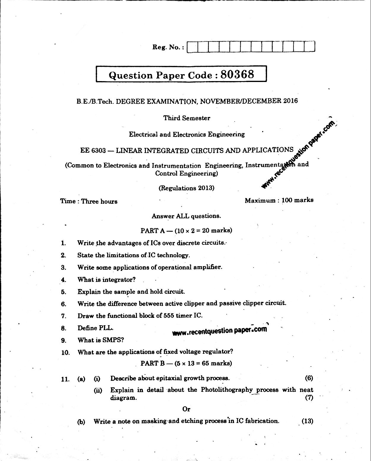Ee6303 Linear Integrated Circuits And Applications Nov Dec 2016 Anna Electric Circuit Questions University Question Paper