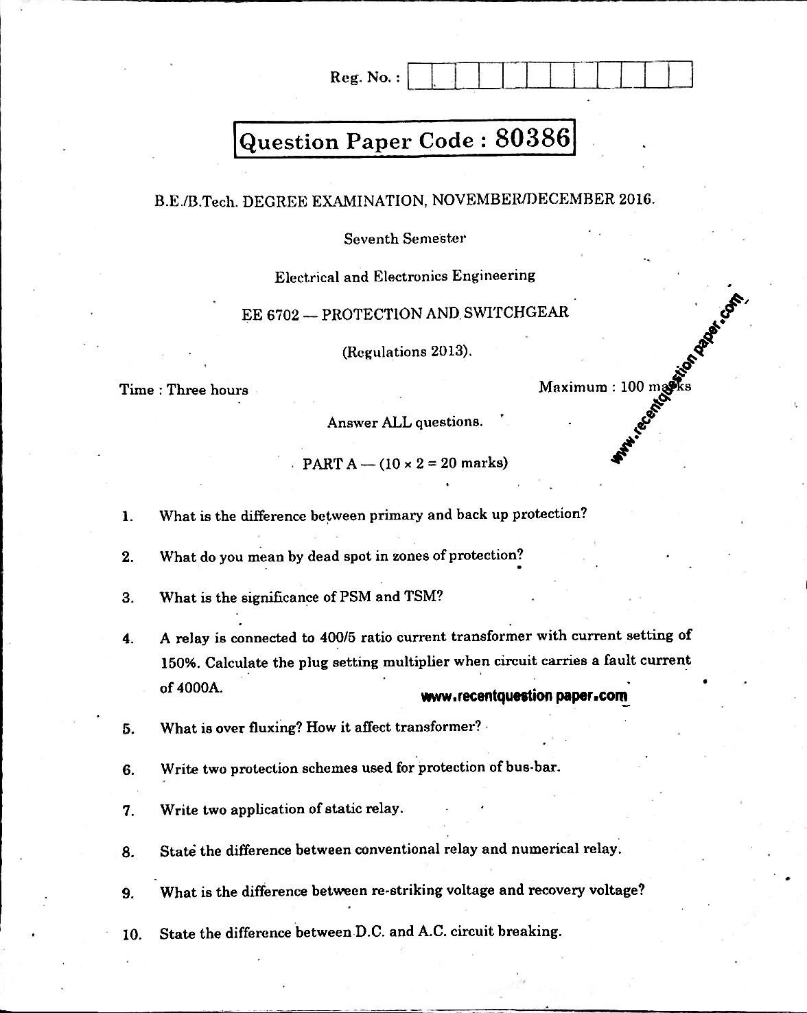 EE6702 Protection And Switchgear Anna University Question paper Nov/Dec 2016