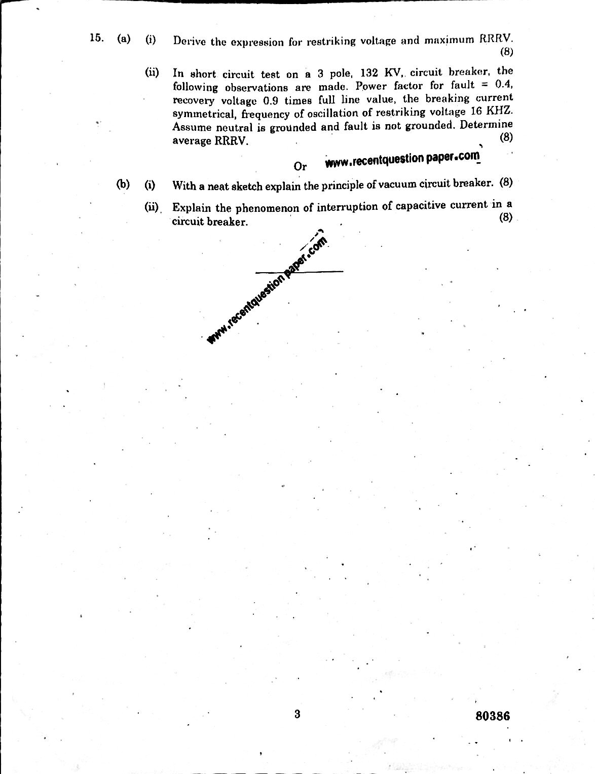 EE6702 Protection And Switchgear University Question paper Nov/Dec 2016