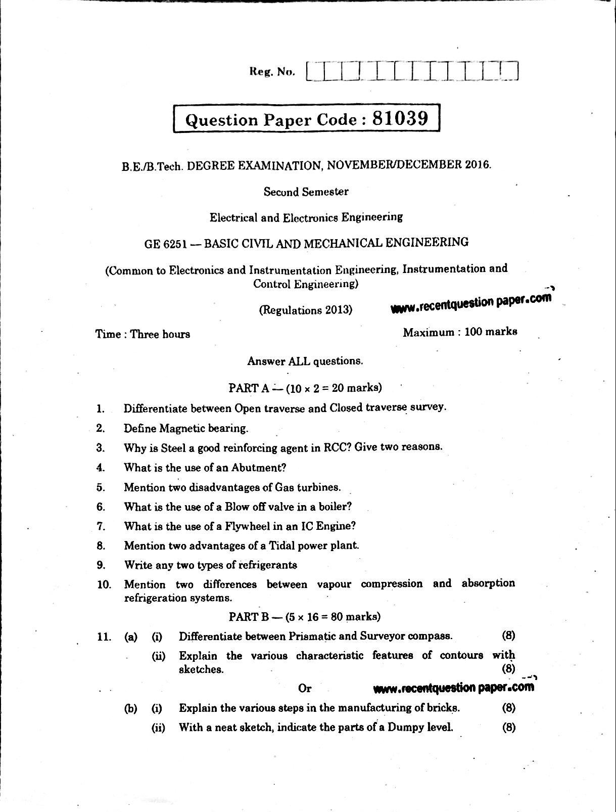 Civil Engineering Question Paper Pdf idea gallery