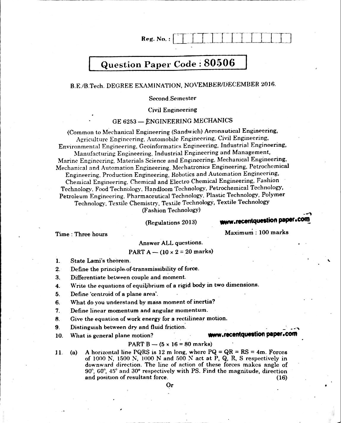 GE6253 Engineering Mechanics Anna University Question paper Nov/Dec 2016
