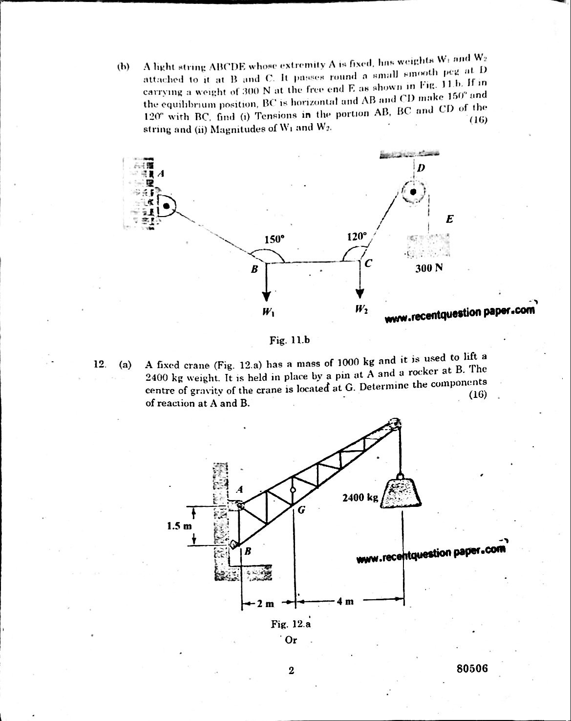GE6253 Engineering Mechanics University Question paper Nov/Dec 2016