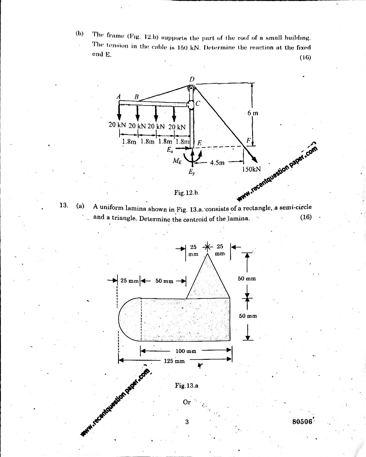 Engineering Mechanics University Question paper Nov/Dec 2016