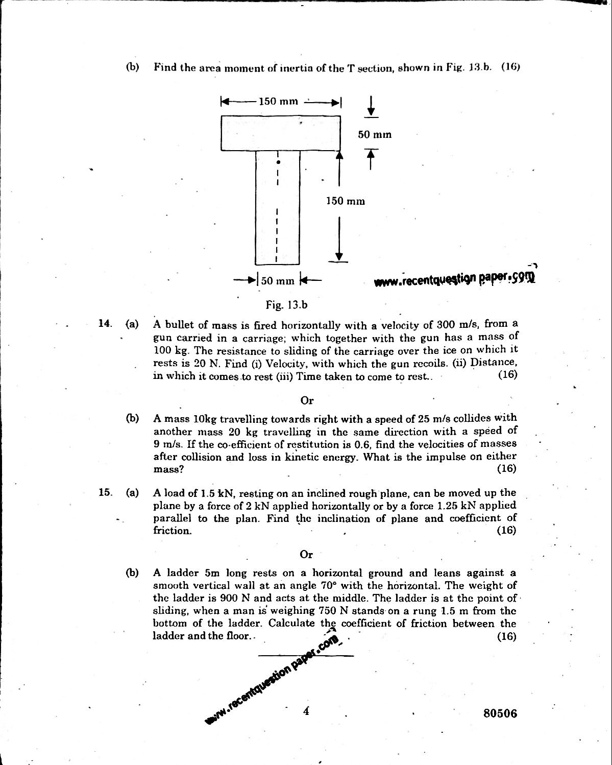 Engineering Mechanics Anna University Question paper Nov/Dec 2016