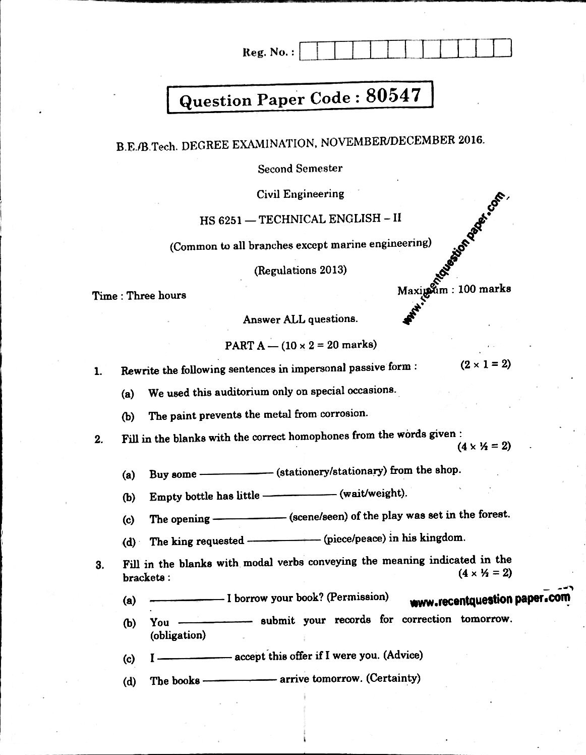HS6251 Technical English-II Anna University Question paper Nov/Dec 2016