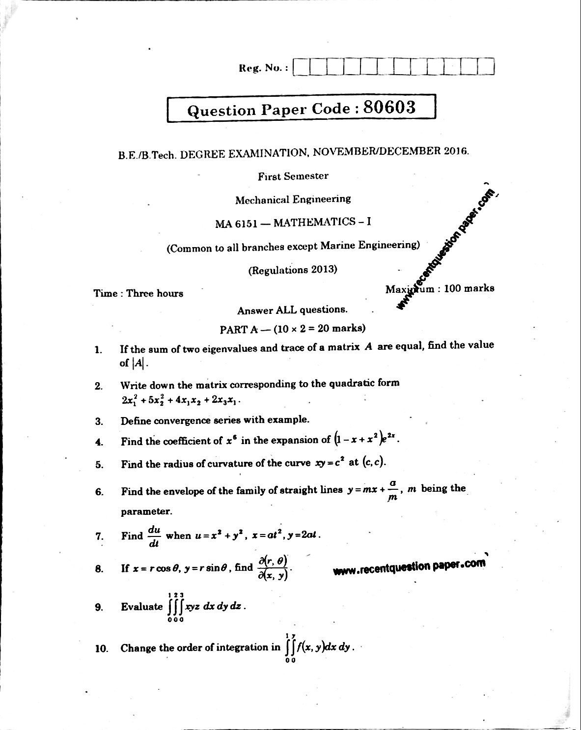 MA6151 Mathematics-I Anna University Question paper Nov/Dec 2016